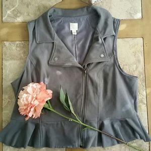 Lauren Conrad Dressed to Frill Slate Soft Vest